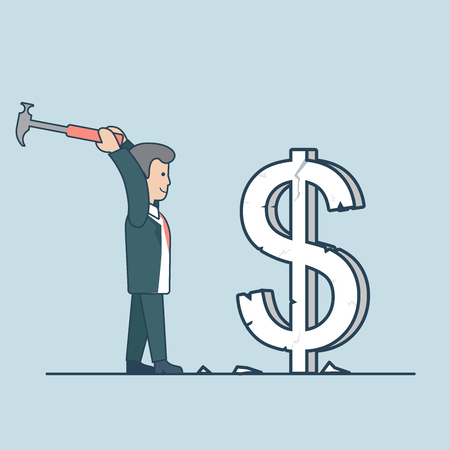 exchange rate: Linear Flat businessman crashing huge dollar sign to pieces by hummer vector illustration. Breaking exchange rate concept. Illustration