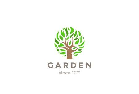 tree symbol: Green Leaves Tree  design vector template. Eco Garden symbol  concept icon