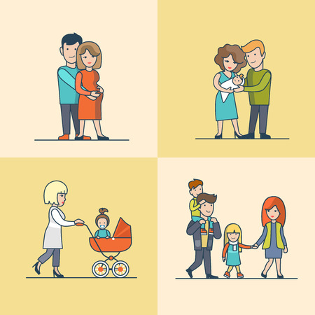 Linear Flat Family walking outdoors with children or baby in pram, pregnant woman in man's hug vector illustration set. Casual life parenting concept.