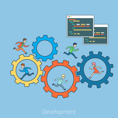 coder: Linear Flat People running on cogwheel and inside, Program code interface window vector illustration. Business development concept. Illustration