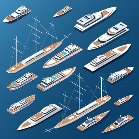 water carrier: Isometric flat yachts and boats vector illustration set. Marine nautical transport collection. Illustration