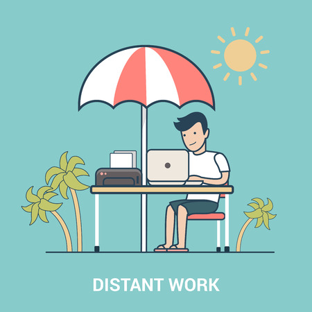 distant work: Linear Flat Man with laptop working outdoors between palms on sunny summer resort vector illustration. Distant work, freelance, business freedom concept. Illustration