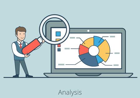 L'uomo d'affari piano lineare mostra il rapporto, presentazione sul computer portatile con l'illustrazione di vettore della lente. Analisi delle imprese finanziarie, verifica, concetto di piallatura.