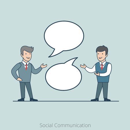 share information: Linear Flat Two businessman chat, share information vector illustration. Empty talk bubbles to place your text. Social Communication concept.