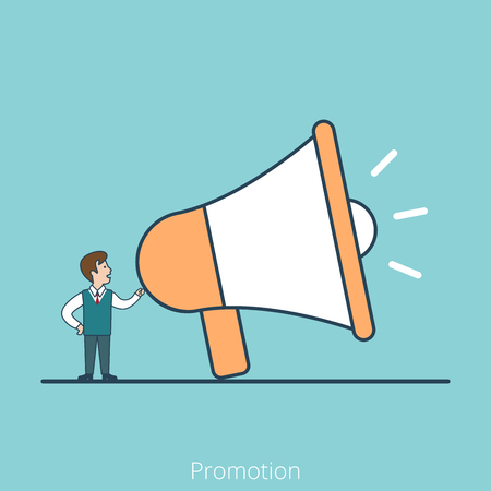 introduce: Linear Flat Speech of Promoter with huge speaker phone vector illustration. Business promotion concept.