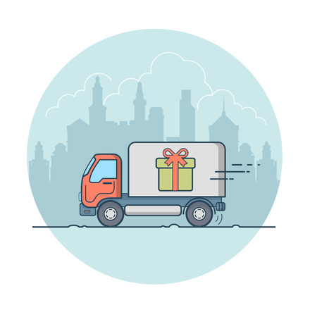 transportation company: Linear Flat Van with present box on board moving on cityscape vector illustration. Transportation company, surprise delivery concept.