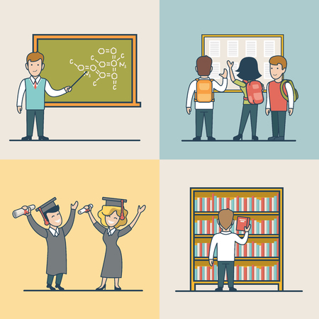 elective: Linear Flat University subject selection, elective course, study and graduation, happy students vector illustration set. Modern Education and Knowledge concept.