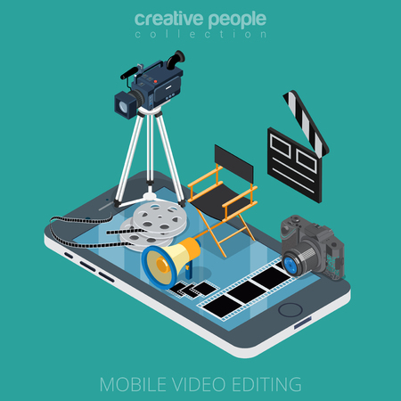 Flat isometric video content editing icons on smartphone vector illustration. 3d isometry motion media app concept. Camcorder, clapper, DSLR camera, film, director chair, filmstrip objects.