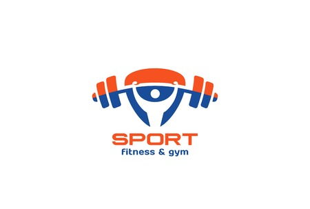 sport body: Sport Gym Fitness Logo design vector template triangle shape.  Man rise barbell Logotype active healthy lifestyle concept icon