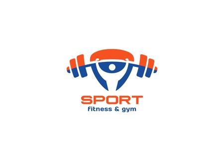 Sport Gym Fitness logotipo de diseño vectorial plantilla de forma de triángulo. Hombre aumento barra de logo icono del concepto activo estilo de vida saludable
