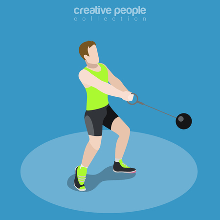 Flat isometric Athletics Hammer Throw vector illustration. Sportsman (Athlete) 3d isometry image. International summer competition concept.