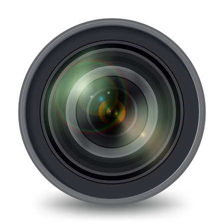 Camera lens isolated on white background, front view.