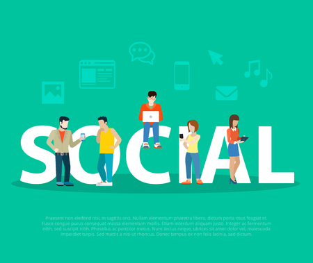 Flat Business people with tablet and laptop sitting on big letters and stand near word vector illustration. Color background with icons. Business Social network promotion concept.