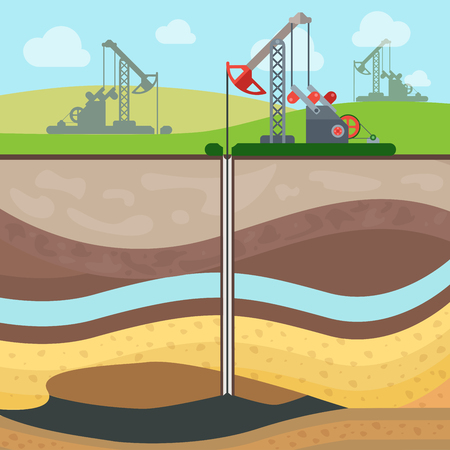 'rig out': Flat Industrial drilling rig and Oil field, Soil layers vector illustration. Extraction of nature resources concept. Illustration