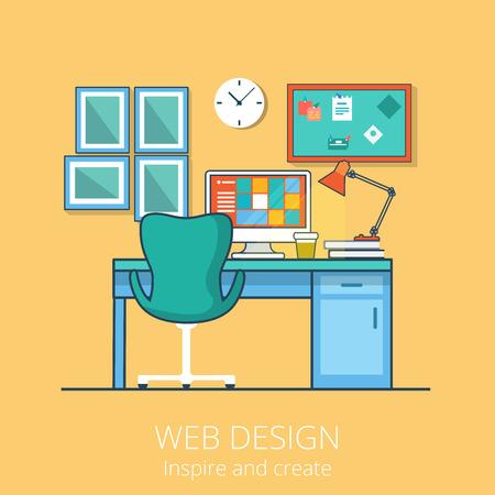 interior designer: Linear Flat creative cabinet interior vector illustration. Web designer working place concept.
