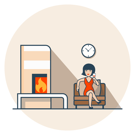 casual dress: Linear Flat Woman in red dress drinking wine, sitting in living room near fireplace vector illustration. Casual life concept.