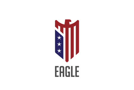 defence: Eagle  abstract design vector template Shield shape. Falcon Hawk bird protect defense  USA concept icon.