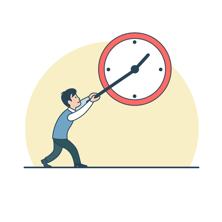 slowdown: Linear Flat Businessman holding clock arrow, trying to stop or slow down time vector illustration. Business Time Management concept. Illustration