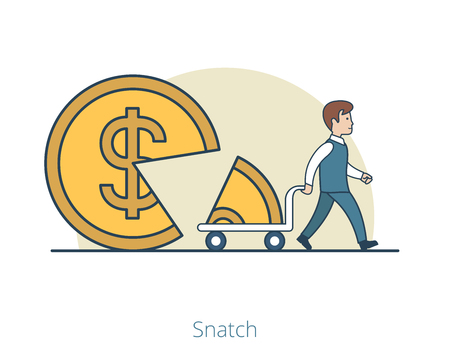 Linear Flat Businessman takes away part of coin shaped pie on cart vector illustration. Shareholder snatch business concept.