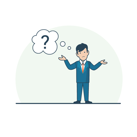 confused businessman: Linear Flat confused Businessman shrugging shoulders, chat bubble with question mark vector illustration. Business task concept.