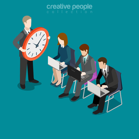 Flat isometric businesspeople work in a hurry, leader with big clock vector illustration. 3d isometry rush for deadline, out of schedule business concept. Boss, secretary, manager or accountant. Illustration