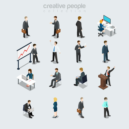 Isometric flat Businesspeople diverse by job, sex, post and function at working place vector illustration set. Society members variety 3d isometry concept. Boss, manager, secretary and accountant.