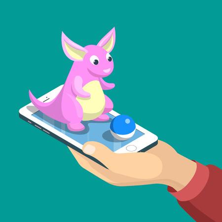Flat isometrische mobiele game dragon vangst vector illustratie. Menselijke hand greep smartphone, schepsel zit op de telefoon. Virtual MMOG spel 3D isometrie concept.