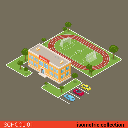 school yard: Flat isometric school building, stadium, parking vector illustration. Municipal educational facilities. Modern city architecture infographic 3d isometry concept.