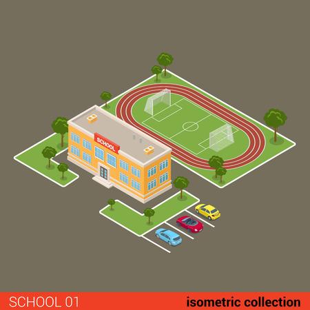 municipal: Flat isometric school building, stadium, parking vector illustration. Municipal educational facilities. Modern city architecture infographic 3d isometry concept.
