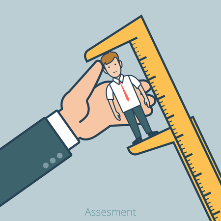 Linear Flat Big boss measure micro manager with calipers vector illustration. Assessment, examine business professionals concept.