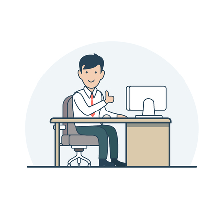 Linear Flat Satisfied Businessman sitting at working place vector illustration. Casual Business life concept.