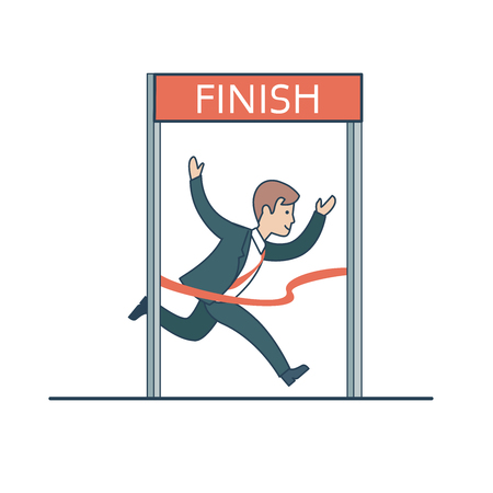 successful businessman: Linear Flat Happy businessman running, reaching the finish vector illustration. Successful Business, leadership concept.