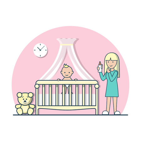 parenting: Linear Flat baby in cradle cot and mom with nipple milk bottle vector illustration. Casual life parenting concept. Illustration