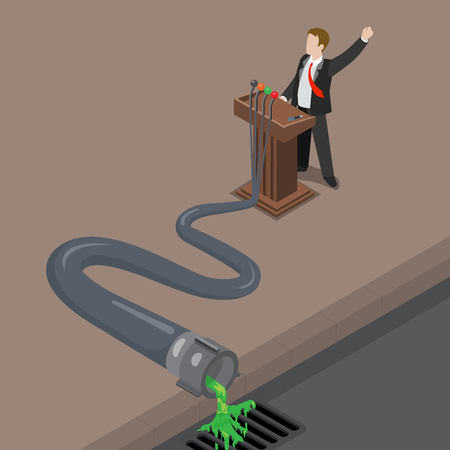 politics: Flat isometric Politician speech transforming from words to disgusting green liquid coming from microphone through pipe to sewerage vector illustration. 3d isometry Dirty Politics concept. Illustration