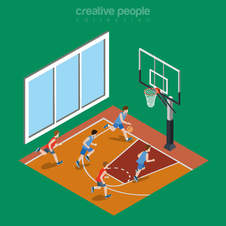court symbol: Isometric flat indoor basketball court playground vector illustration. College and university sports 3d isometry concept.