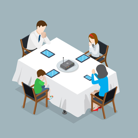 Flat isometric Family sitting around the table, fold their hands for prayer over tablets and wi-fi router as main course vector illustration. 3d isometry pray for internet and mobile device concept. Vettoriali