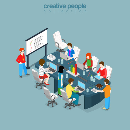 retraining: Flat isometric Teacher and students training in meeting or class room vector illustration. Business education or retraining infographics 3d isometry concept.