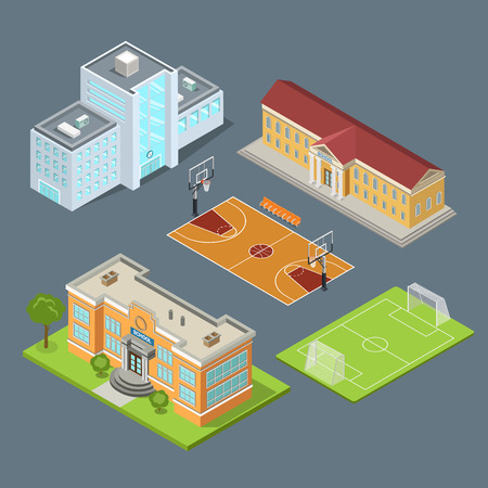 facilities: Flat isometric set of school buildings, basketball field and soccer stadium vector illustration. Municipal educational facilities. Modern city architecture infographic 3d isometry concept.