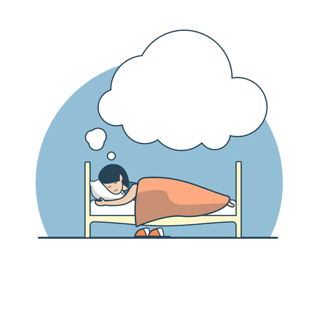 chat room: Linear Flat girl sleeping and dreaming on her bed vector illustration. Dream world, rest concept.