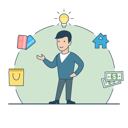 Linear Flat happy man standing; lamp, house, money, credit cards package in circle around vector illustration. Casual finance expenses distribution concept.