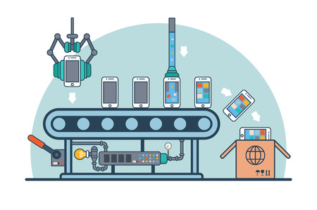 production line: Linear Flat smartphones on conveyor fueling with firmware and software vector illustration. Mobile phone production line and packaging concept. Illustration