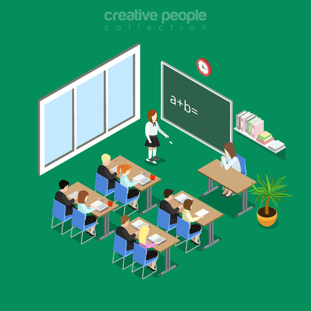 Isometric flat classroom interior in school, college or university vector illustration. Education and knowledge 3d isometry concept. Student by the blackboard, teacher at workplace, pupils in class.