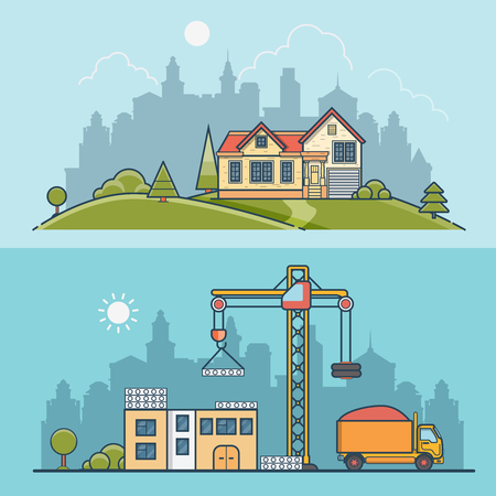constructing: Linear Flat construction site and suburb house vector illustration set. Building process business concept. Crane constructing concrete panels, tipper truck with sand, home on green lawn meadow. Illustration