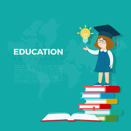 book concept: Education background vector illustration. Pupil girl standing on book heap with idea lamp bulb. Primary school study education concept.