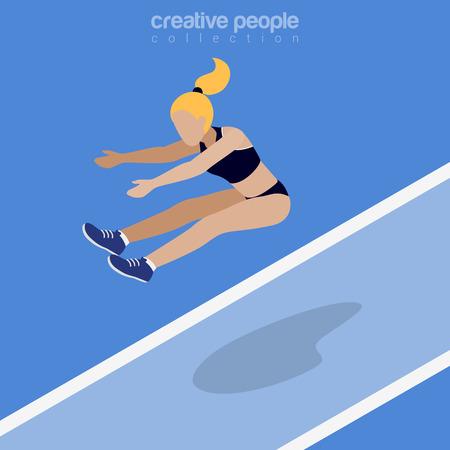 salto largo: ilustración vectorial atletismo puente largo isométrica plana. Mujer imagen isometría 3d deportista salto. concepto de competencia internacional de verano. Vectores