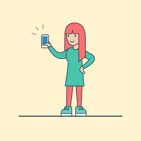 calling art: Linear Flat Happy woman standing with calling phone in hand vector illustration. Casual life, availability concept.