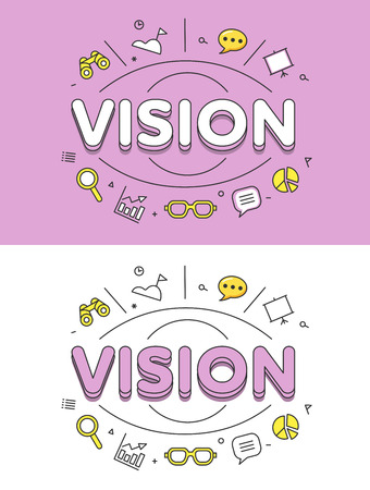 vision future: Linear Flat VISION word over eye and icons website hero image vector illustration set. Business future forecast concept.