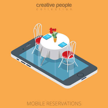 reservation: Flat isometric restaurant table on smartphone vector illustration. 3d isometry online mobile reservation app concept. Illustration