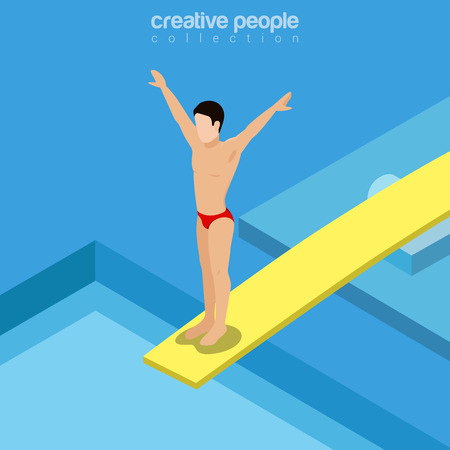 springboard: Flat isometric swimmer on trampoline springboard vector illustration. Swimming pool diver 3d isometry image. Summer international competition concept.