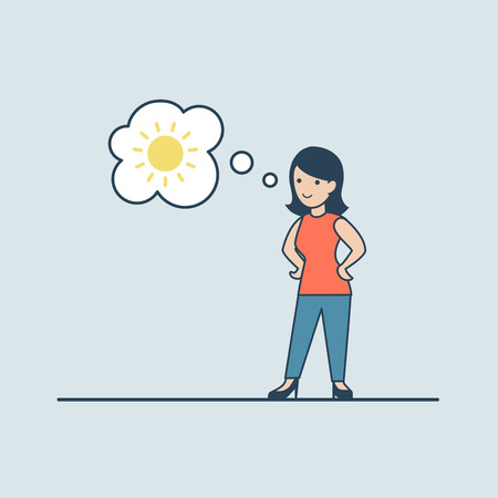 chat bubble vector: Linear Flat woman looking thinking about sunny weather; sun in chat bubble vector illustration. Casual life concept. Illustration